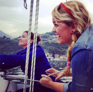 This is what cancelling your trip to Venice looks like: sailing on Lake Como with new friends from Australia.